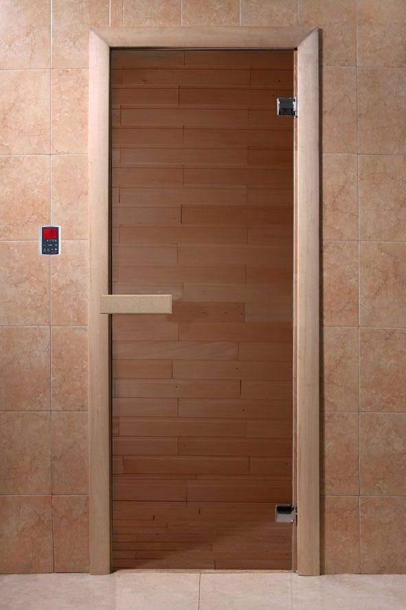 Дверь бан. 6мм DW 1900*700, 2 петли, кор. хвоя, БРОНЗА  (01217), 6мм